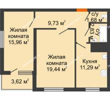 2 комнатная квартира 64,27 м², ЖК Дом у Самолета - планировка