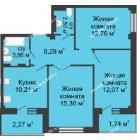 3 комнатная квартира 66,6 м² в ЖК Соловьиная роща, дом № 3 - планировка
