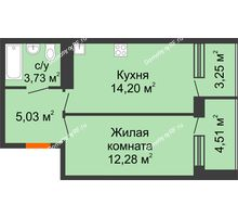 1 комнатная квартира 43 м², ЖК Горизонт - планировка