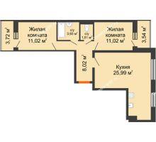 2 комнатная квартира 65,42 м², ЖК Инстеп.Победа - планировка
