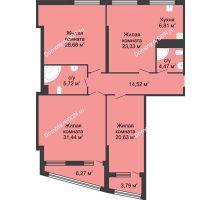 4 комнатная квартира 149,26 м², ЖК Адмирал - планировка