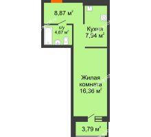 Студия 42,66 м² в ЖК Кристалл, дом Литер 2 - планировка