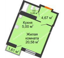 Студия 29,11 м² в ЖК Мечников, дом ул. Мечникова, 37 - планировка