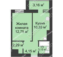 1 комнатная квартира 35,81 м² - ЖК Буревестник