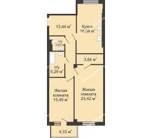 2 комнатная квартира 84,16 м², ЖК Маяк - планировка