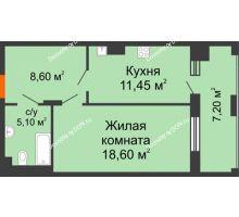 1 комнатная квартира 50,95 м² в ЖК Симфония, дом 3 этап - планировка