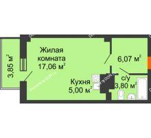 Студия 33,08 м² в ЖК Сокол на Оганова, дом Литер 4 - планировка