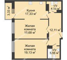 2 комнатная квартира 76,52 м² в ЖК Высоково, дом № 3 - планировка