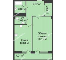 1 комнатная квартира 51,3 м² в  ЖК РИИЖТский Уют, дом Секция 1-2 - планировка