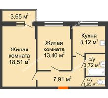 2 комнатная квартира 54,14 м², Жилой дом: ул. Сухопутная - планировка