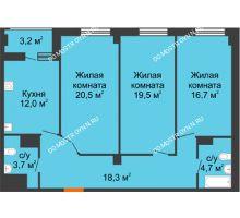 3 комнатная квартира 97 м² в ЖК Квартет, дом № 3 - планировка