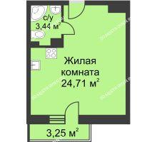 Студия 29,13 м² в ЖК Загородный мкрн Акварель  микрогород Стрижи, дом №7к2 - планировка