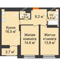 2 комнатная квартира 60,25 м² в ЖК Заречье, дом № 1 - планировка