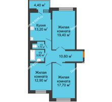 3 комнатная квартира 81,5 м² в ЖК Династия, дом Литер 2 - планировка