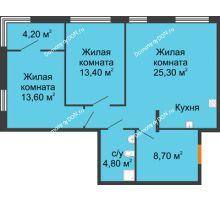3 комнатная квартира 72,1 м², ЖК Островский - планировка