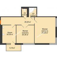 Студия 105,35 м², Жилой дом на ул. Платонова, 9,11 - планировка