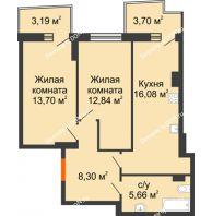 2 комнатная квартира 58,66 м² в ЖК Сердце Ростова 2, дом Литер 1 - планировка
