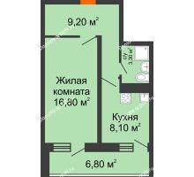 1 комнатная квартира 41,2 м² в ЖК Звезда Столицы, дом Литер 5 - планировка