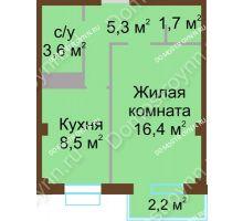 1 комнатная квартира 36,2 м², ЖК Каскад - планировка
