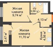 2 комнатная квартира 34,96 м², ЖК Каскад на Ленина - планировка
