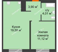 1 комнатная квартира 38,62 м² в ЖК Акватория, дом ГП-1 - планировка