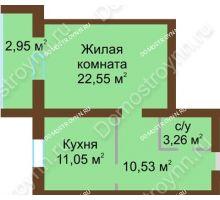 1 комнатная квартира 50,34 м² - ЖК Любимый